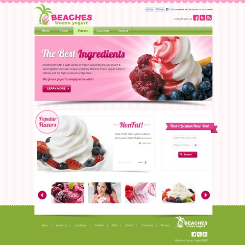 website design for Beaches Frozen Yogurt