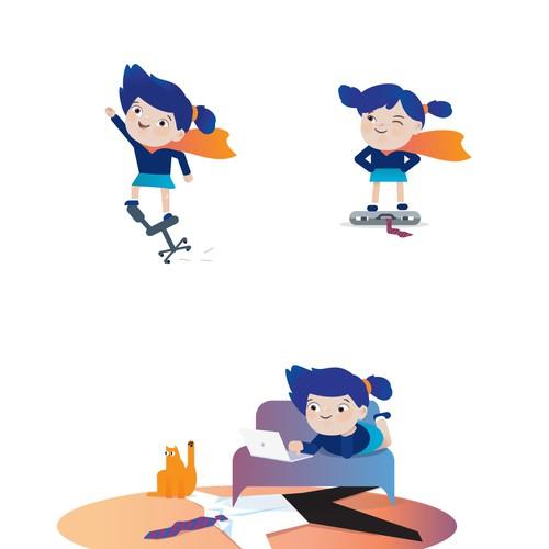 Character design. Female super-hero