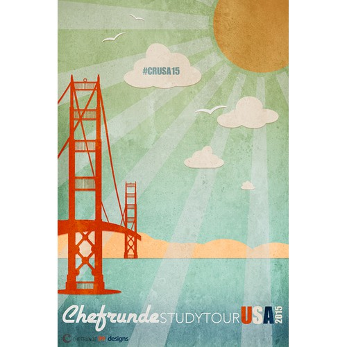 "Retro ""tour"" poster for a special event at 99designs!"
