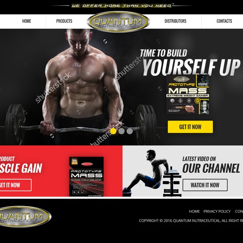 Masculine website for muscle supplement