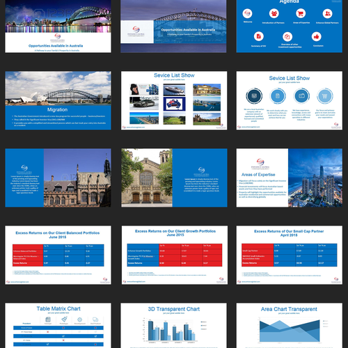 Powerpoint redesign with infographics for upcoming seminar and pitches