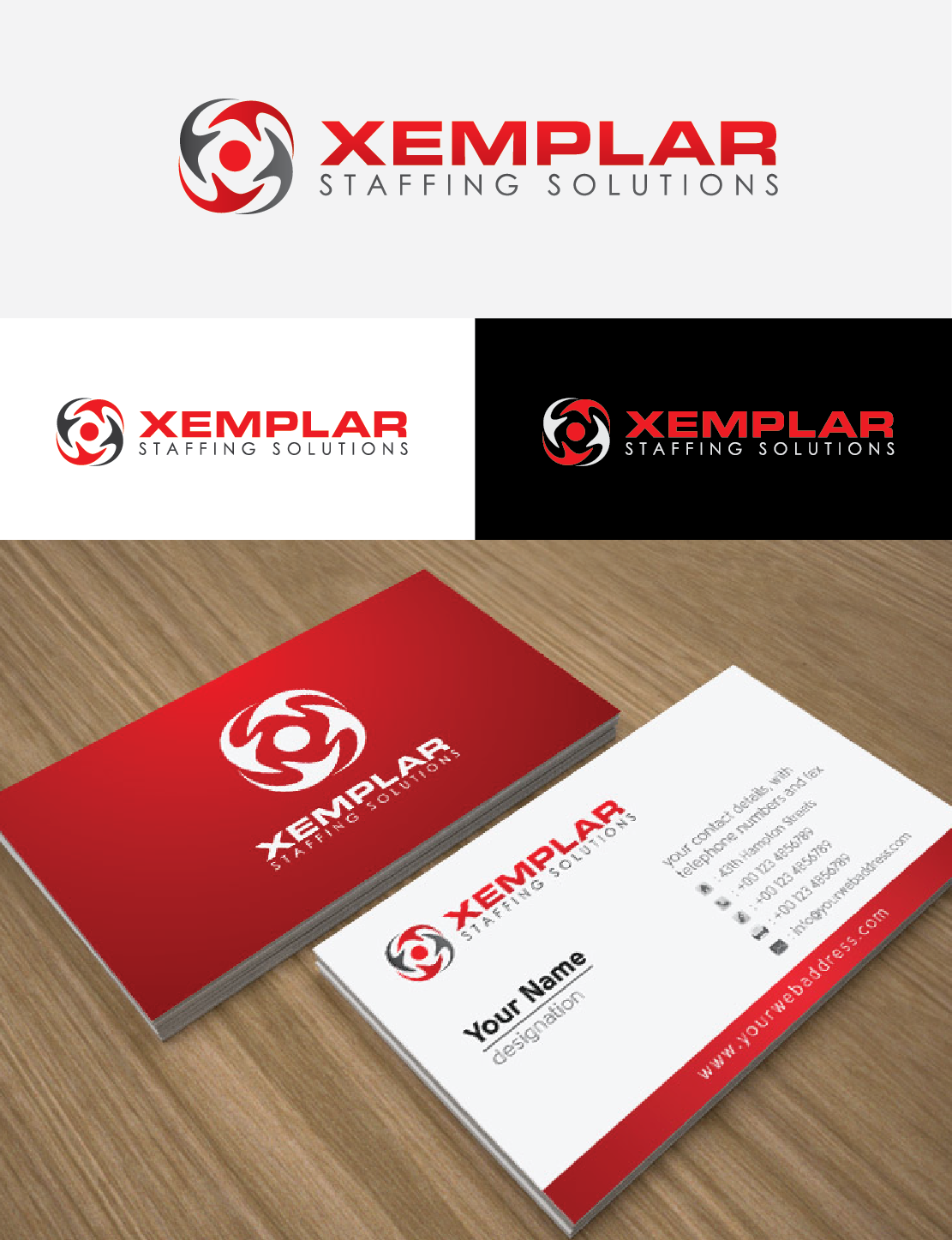 Create a winning logo for XEMPLAR, a new, ambitious industrial staffing company