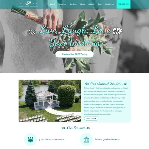 landing page for Riviera website