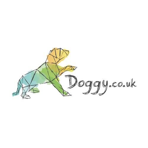 Watercolor dog logo