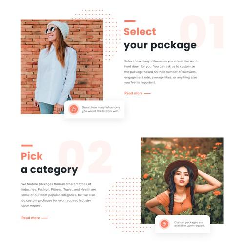 Web design concept for an influencer marketing website.