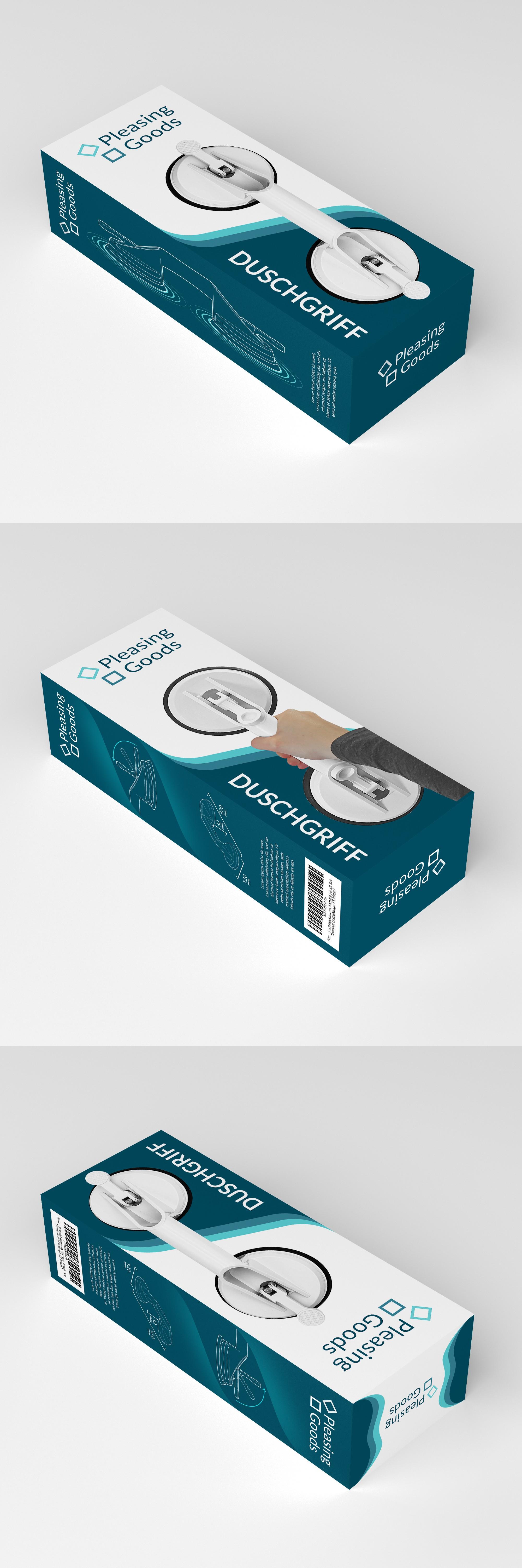 Gestalte eine Produktverpackung für einen Bad-Helfer