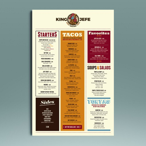Menu for King Jefe...a fresh urban taqueria