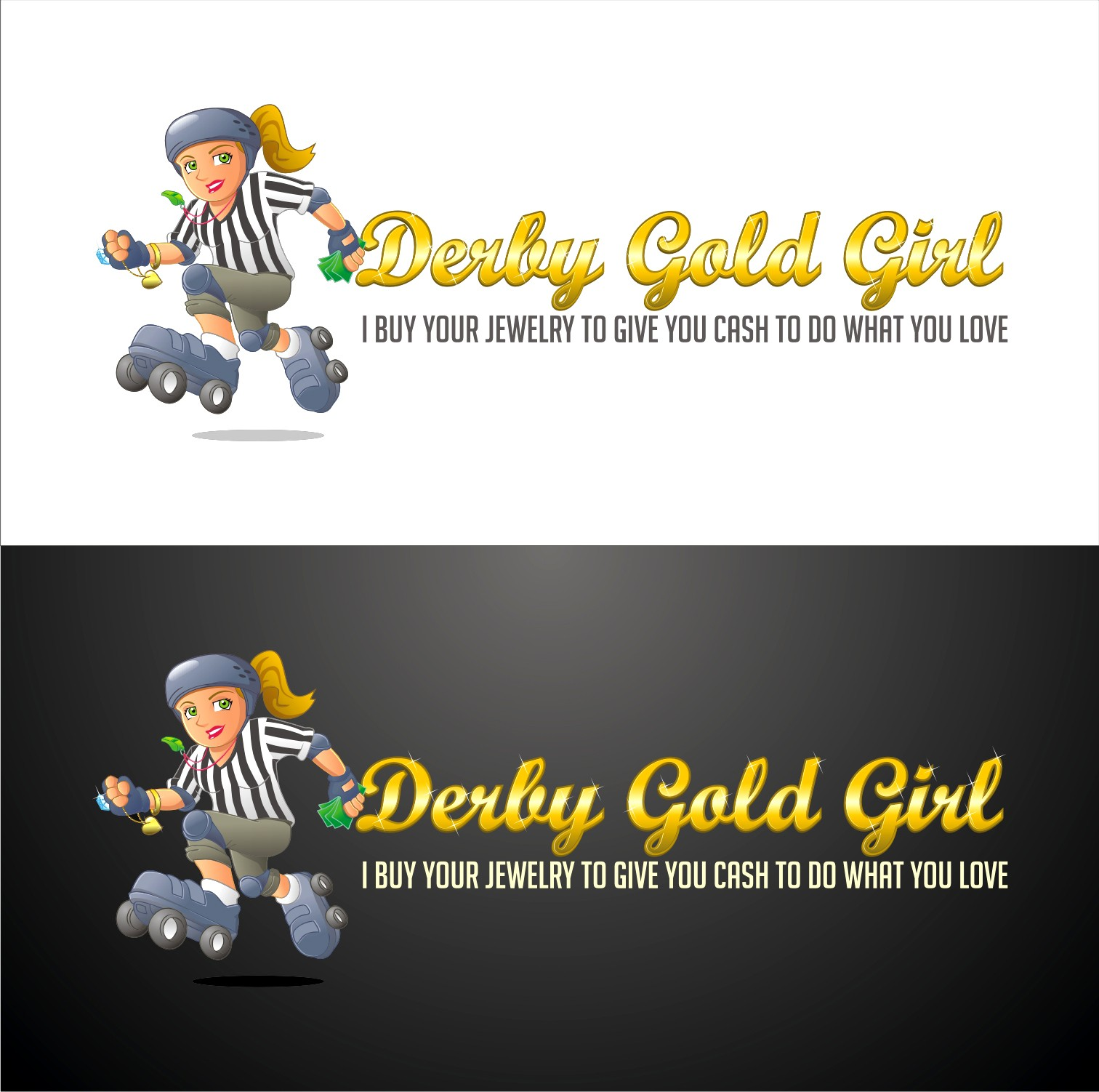 Create a cartoon roller derby referee girl