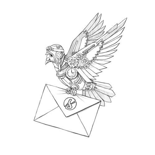 Robot Carrier Pigeon with Envelope