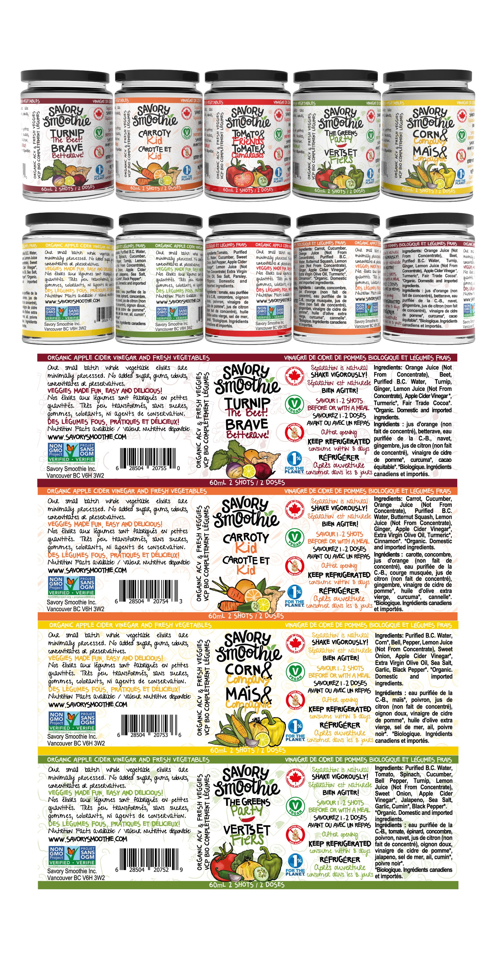"""4 adhesive labels for smoothies bottles: green, corn, carrot and beet 60ml. size5 1/2 """"x 1 3/4"""""""