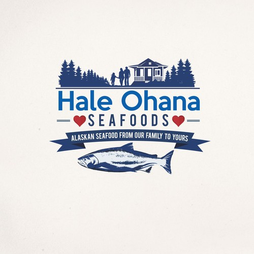 logo for a seafood company focused around family and fish.