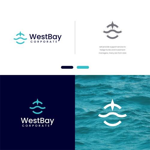 logo concept : W + wave + compass