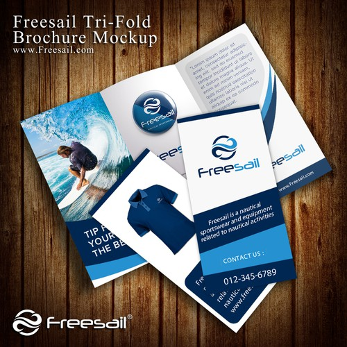 Freesail logo preview on trifold brochure