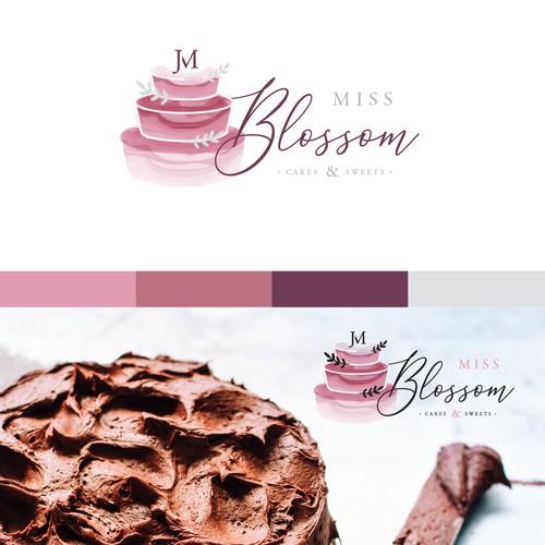 Elegant logo concept for Miss Blossom Cakes & Sweets