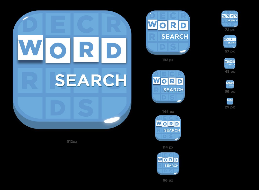 Create a fun word search puzzle icon for Android / iOS