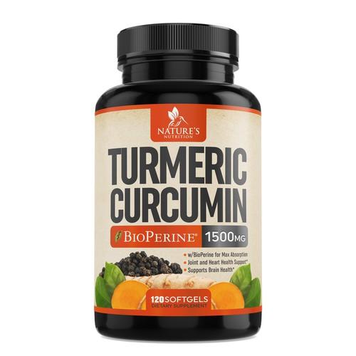 TURMERIC CURCUMIN supplement label design