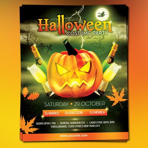 Halloween flyer poster design
