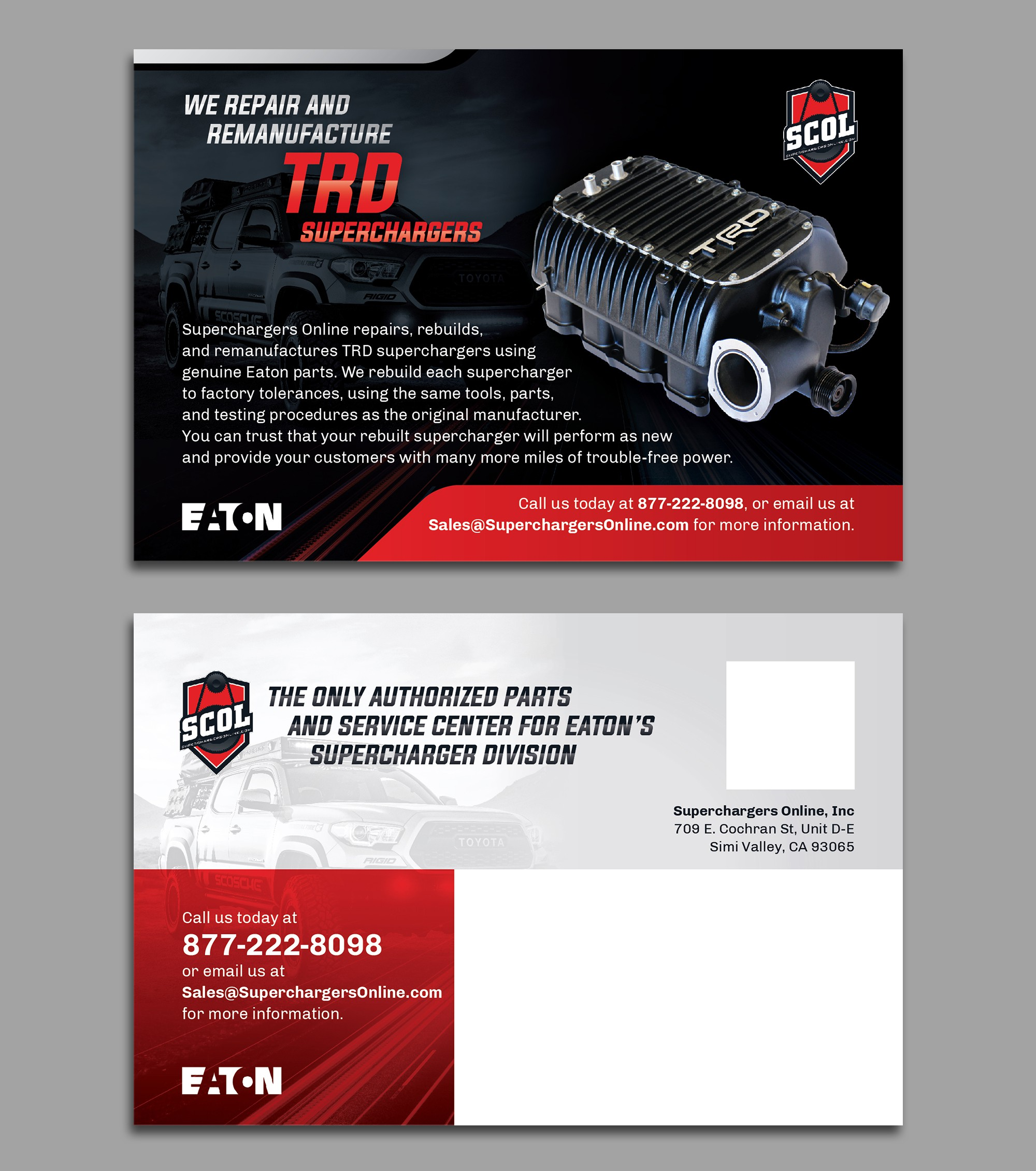 Direct mail postcard for automotive aftermarket company