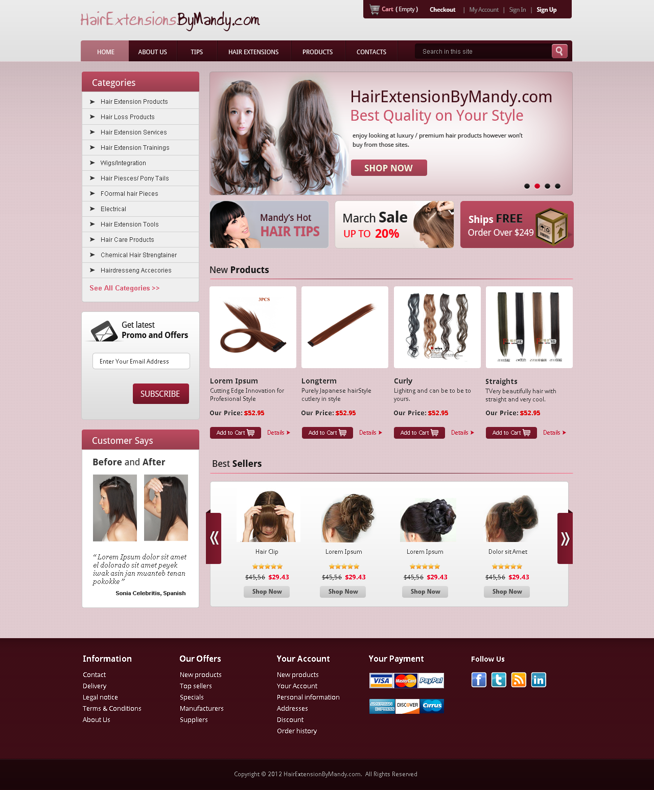 Create the next website design for Hair Extensions By Mandy