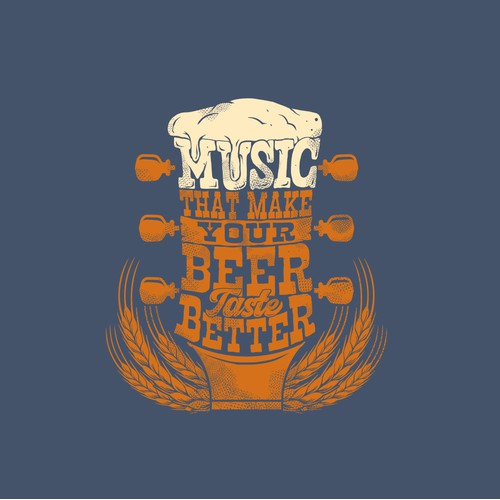 Beer,country music T-shirt illustration