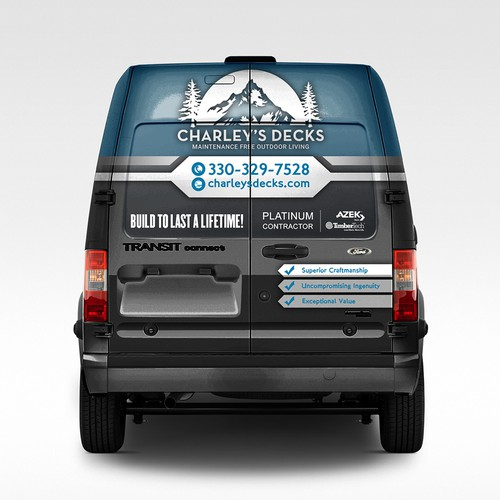 Vehicle Wrap Design for Charley's Decks.