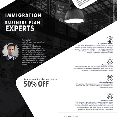 Full Page Magazine Ad for Immigration, Marketing Business Plan