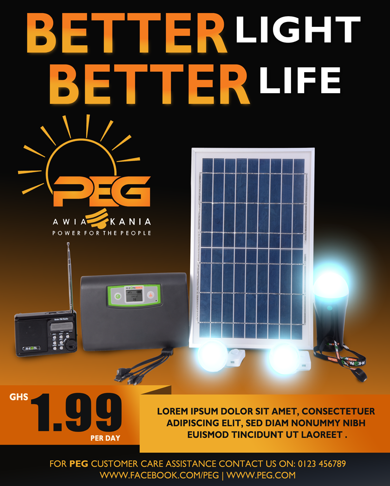 Flyer and Poster design for solar products that will be sold to poor consumers in Africa