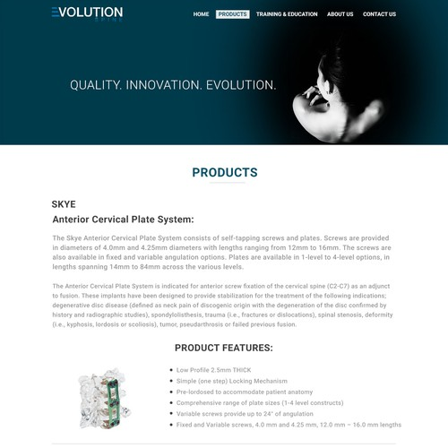 Evolution products page