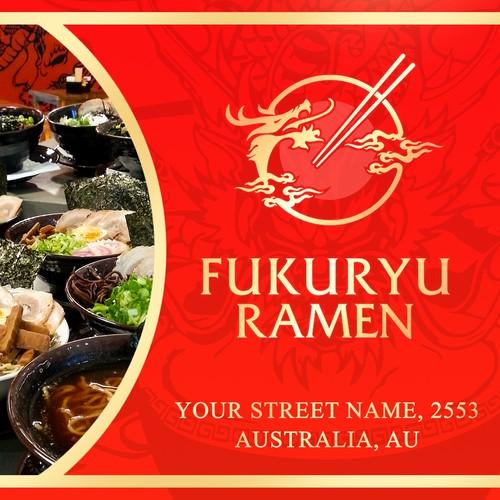 Fun and yummy poster for Fukuryu Ramen