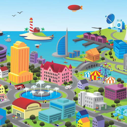Town Square Illustration - Fun, Clean, Colorful