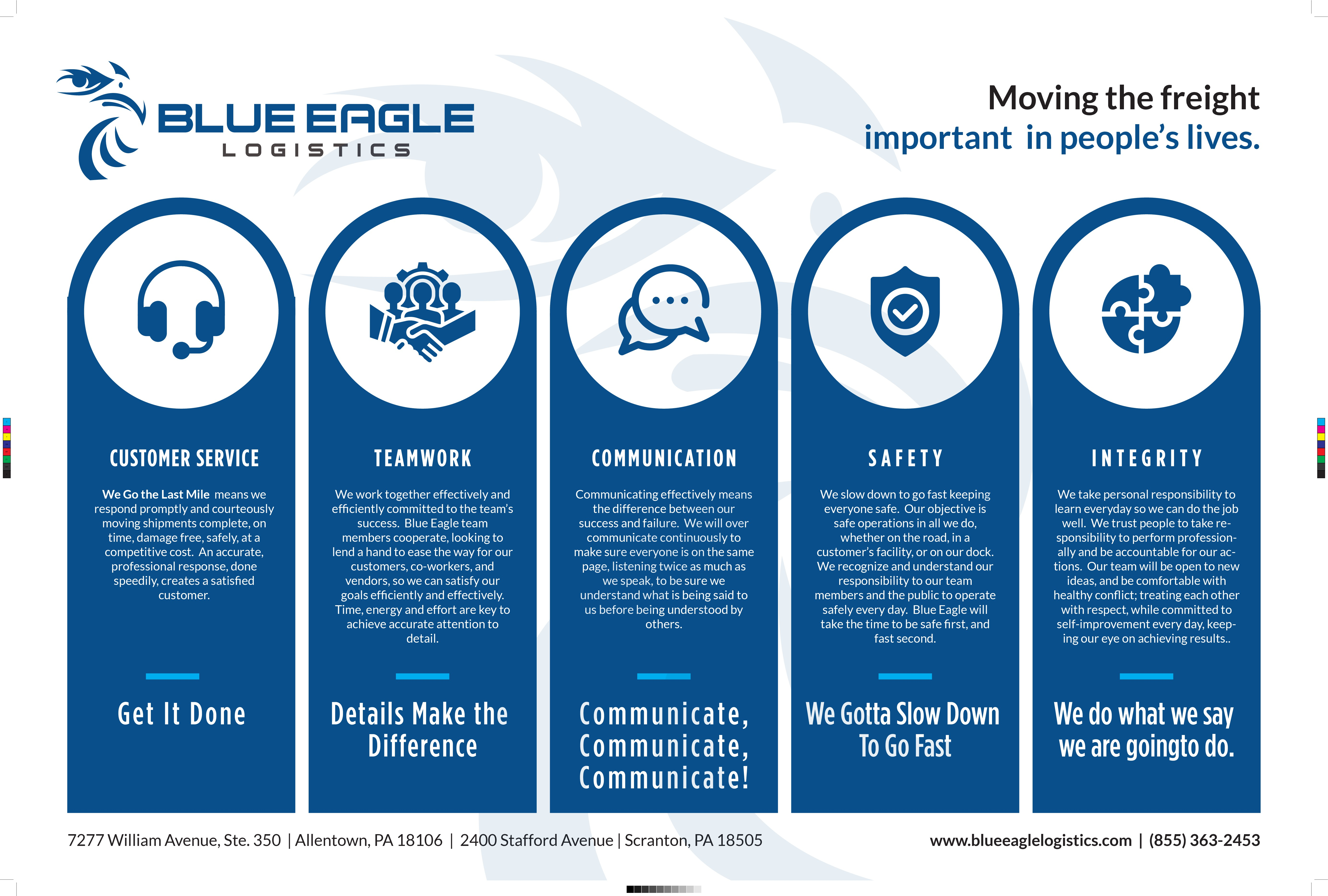 Blue Eagle Logistics Core Values Communication Program
