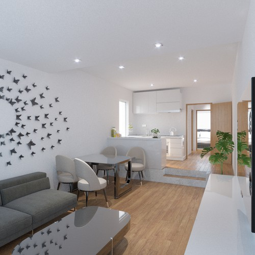 Photorealistic visualisation of an apartment house