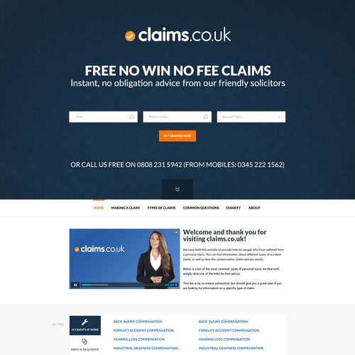 Landing page for Claims.co.uk