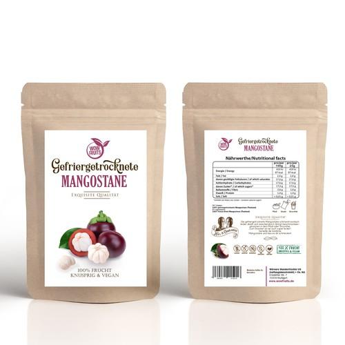 Packaging design for frozen Mangostane,  100% organic and vegan product