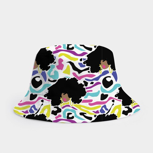 Bucket Hat Designs for Girls (black culture theme)