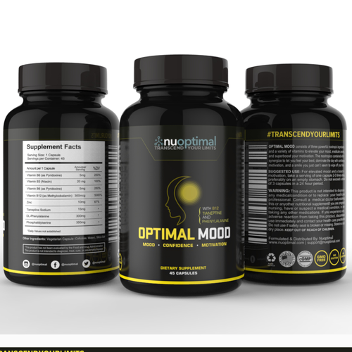 Design a Modernized and Captivating Product Label for High-End Nootropic Supplements
