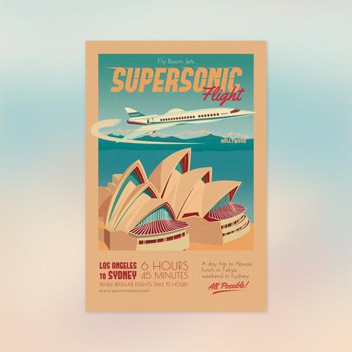 Vintage Travel Poster Promoting Supersonic Flight