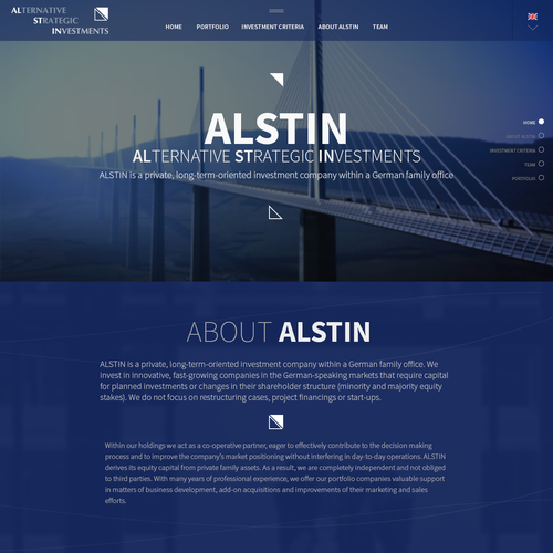 Create a fascinating and representative new website for an investment company