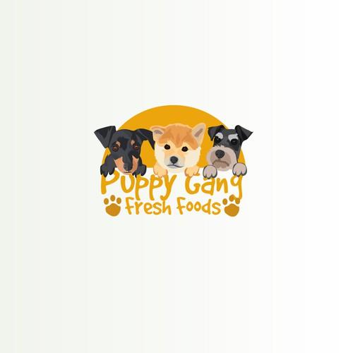Puppy gang fresh food concept logo