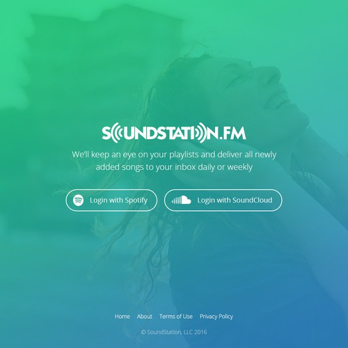 Home page for music service