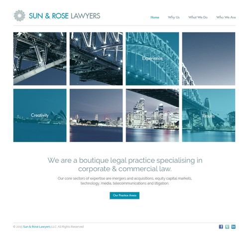Home Page design for Sun & Rose Lawyers
