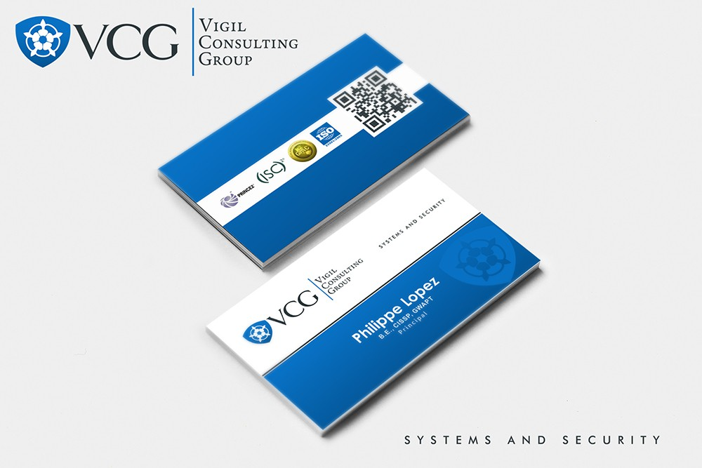 Create a logo and business card design for a modern IT security and project consulting company
