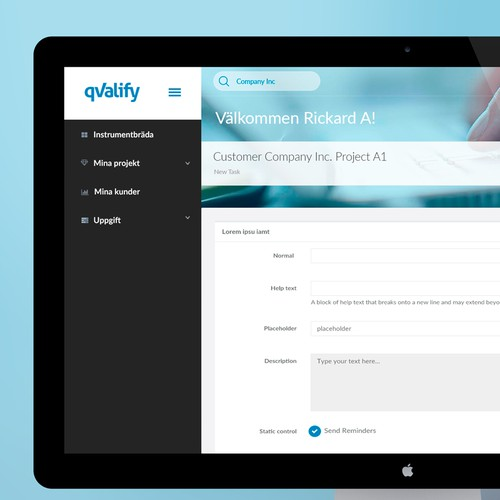 Admin panel for qValify