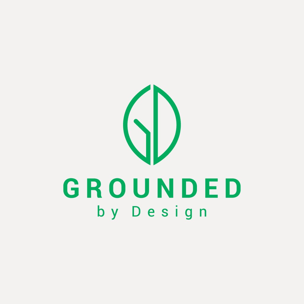 Design a sleek nature-inspired logo for Grounded by Design, a wellness + design event