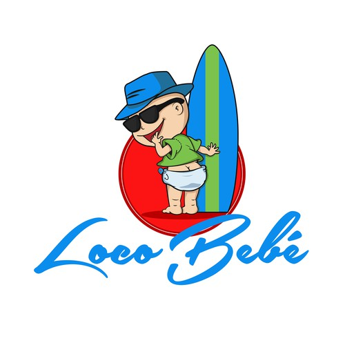 Create a logo for a baby food with a surf vibe