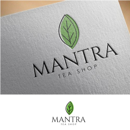 logo concept for mantra tea shop