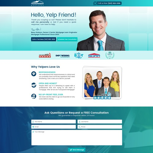 Landing Page for #1 Ranked Transparent Mortgage in San Diego