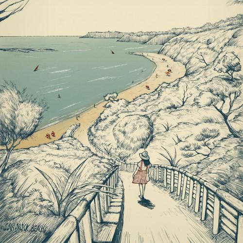 illustration of Australian beach (Birdrock beach)