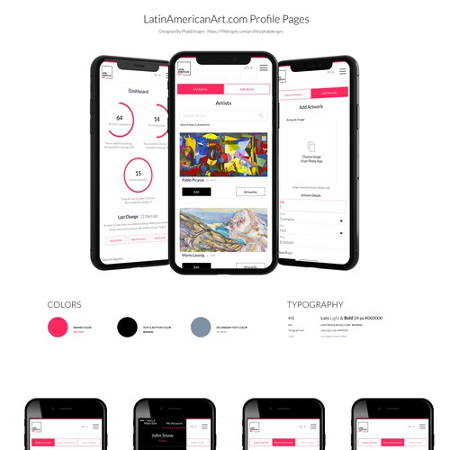 Mobile design for an art marketplace