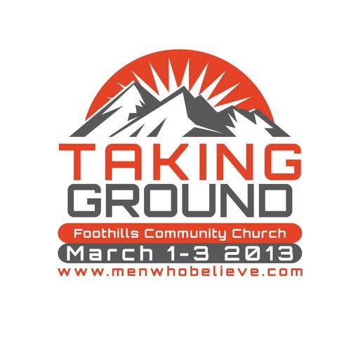 Create a logo for Foothills Community Church men's retreat.